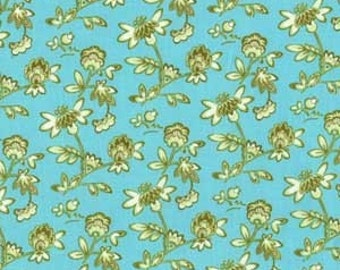 "Sale Fabric Paula Prass Petite Garden Fabric in Ocean 32"" Piece Yard for Michael Miller Fabrics"