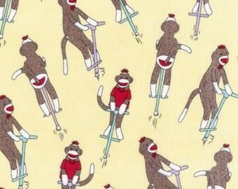 Flannel Sock Monkey Fabric Funky Monkey Pogo in Yellow 1/2 Yard