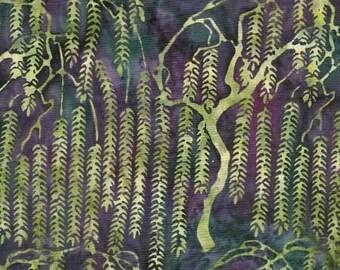 Batik Cotton Fabric Asian Willows in Seaweed 1/2 Yard