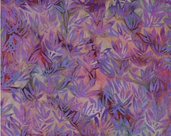 Batik Cotton Bamboo Leaves in Purples 1/2 Yard by Island Batik