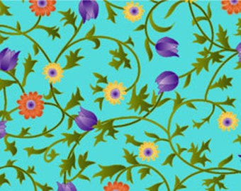 Sale Fabric Sweet Nectar Floral in Blue 1/2 Yard