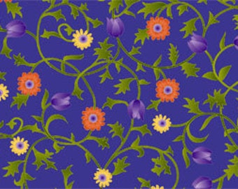 Sale Fabric Sweet Nectar Floral on Periwinkle 1/2 Yard