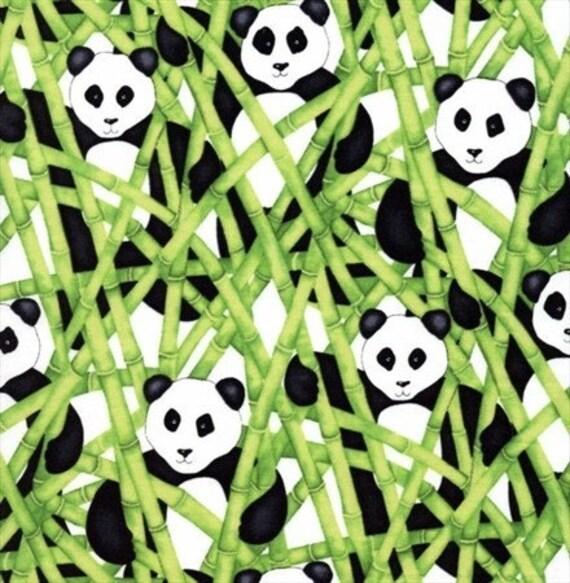 Panda Bear Fabric In Green By Barbara Leonard For Blank