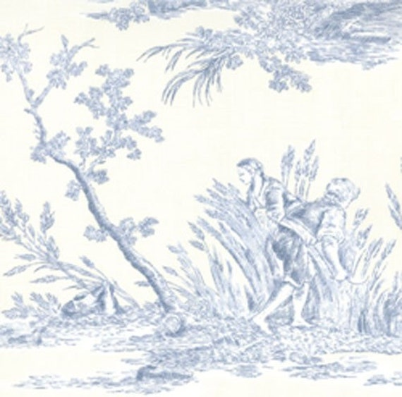 Items similar to french general toile fabric rural jardin for Toile tendue jardin