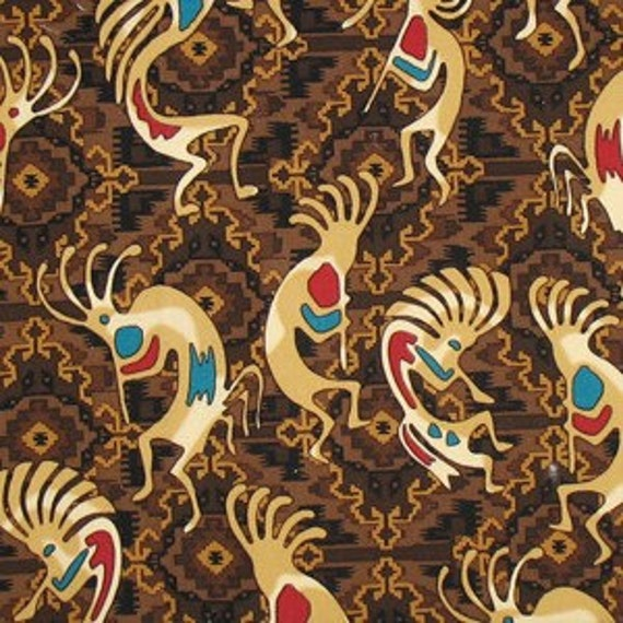 Micheal Miller Southwestern Fabric Dancing Kokopelli in Brown