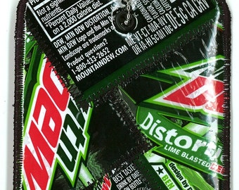 Luggage Tag from Recycled Distortion Mt Dew Wrappers