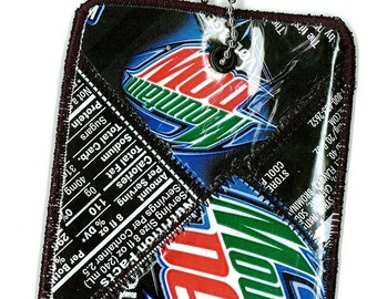 Luggage Tag from Recycled Mt Dew Voltage Soda Labels