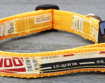 Dog Collar from Recycled Redhook Pilsner Beer Labels