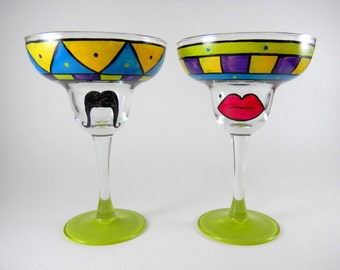 Hand Painted Margarita Glasses - set of two