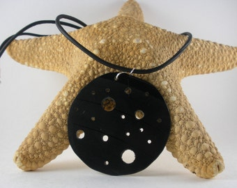 Moon necklace, re-purposed vinyl record