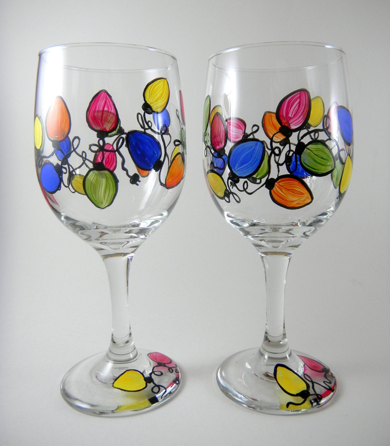 Christmas lights multi colored string set of 2 hand painted for Hand painted wine glass christmas designs