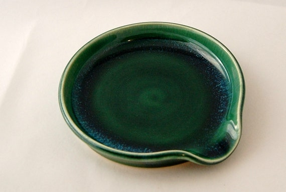 RESERVED Spoon Rest in Forest Green - Dish / Saucer / Candle Plate