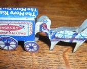 Antique Tin Lithograph cracker jack  Prize Toy Horse Wagon Candy