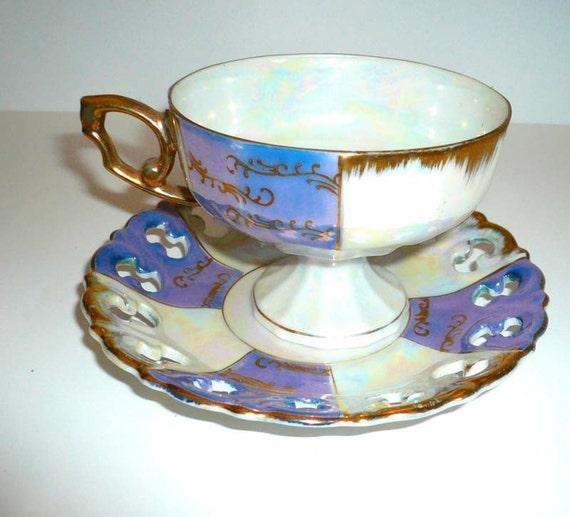 Vintage Teacup Saucer Lavender Teacup Gold Gilt Teacup Lustreware Serving Teacup Collectible teacup