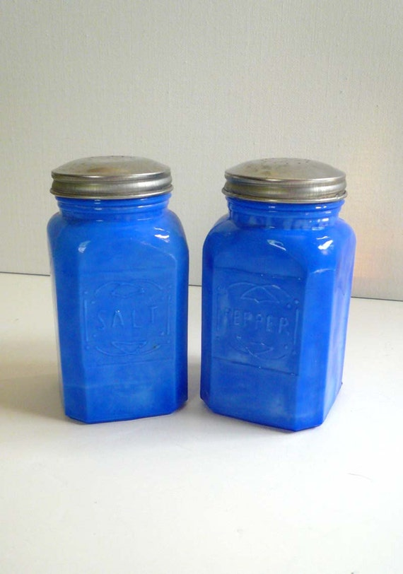 Opaque Blue Milk Glass Salt and Pepper Shakers