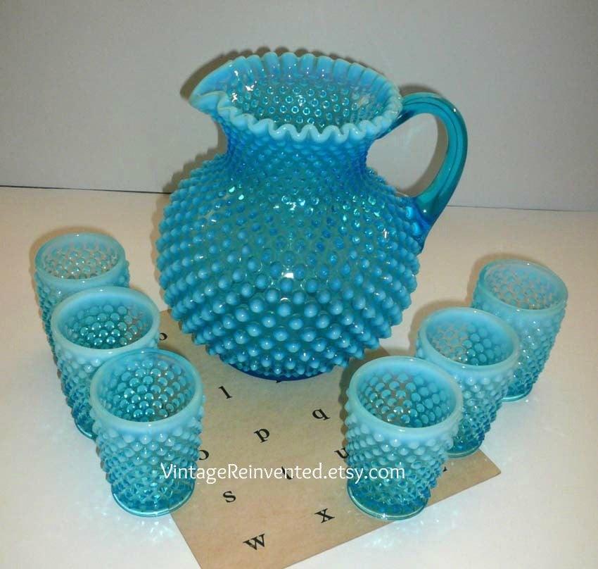 Vintage Fenton Hobnail Aqua Pitchers And Tumblers Glassware
