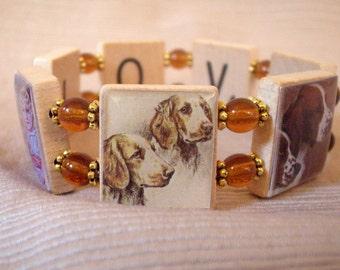 WELSH SPRINGER Spaniel Jewelry / SCRABBLE Bracelet / Dog Gift / Upcycled