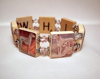 WHIPPET Dog / Handmade Jewelry / SCRABBLE Bracelet / Upcycled Art - 2
