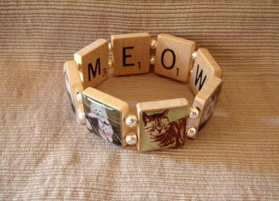 Cat Jewelry / Bracelet / Upcycled / Scrabble Jewelry