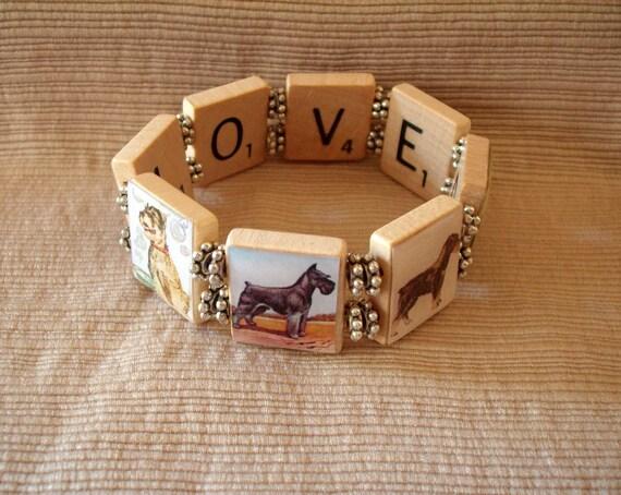Schnauzer Bracelet / Dog Lover Gift / Upcycled / Scrabble Jewelry