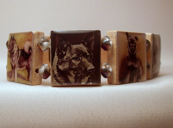 Norwegian Elkhound Bracelet / Dog Lover Gift / Upcycled / Scrabble Jewelry