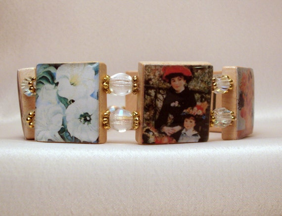 Artist Bracelet / Famous Paintings / Upcycled / Scrabble Jewelry