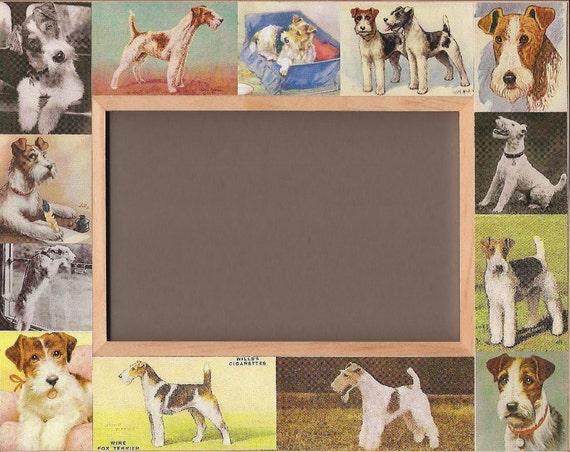 Wire Fox Terrier Vintage Antique Art Photo Frame