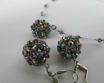 Crystal necklace - earrings set, peyote ball technique, wedding necklace  earrings , bridesmaid