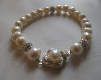Bridal Ivory Freshwater Pearl bracelet, Embellished Crystal- Rhinestone Closure, Bridesmaid Jewellery, vintage style