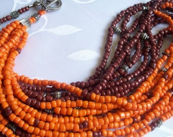 Authentic  Ethnic  tribal necklace, tangerine-brown seed bead necklace.  Jewelry gift  guide