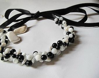 Handmade Beach wedding cat eye bead , black-white bead necklace.. Brides, Bridesmaids, nautical weddings