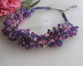 Seed Bead Necklace , crochet  jewellery, Bridesmaid Necklace