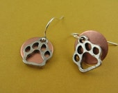 Charity Listing - Silver and Copper Paw Earrings