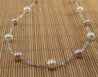 Pink Pearl White Pearl Silver Chain Pearl Necklace Natural Pearls Pink White Necklace Mauve Round Pearl Necklace Short Pearl Necklace