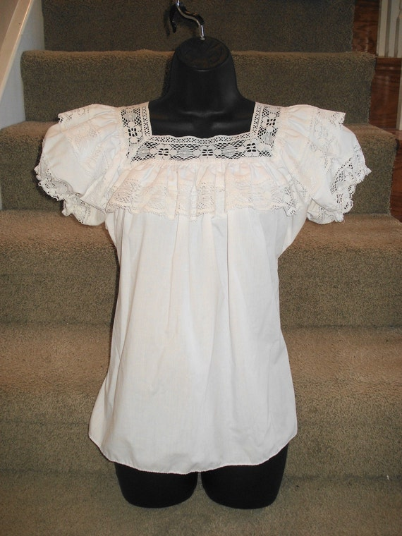 White Lace Peasant Blouse 38