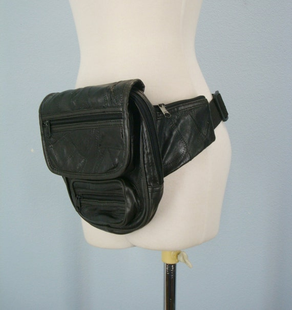 1980s Fanny Pack / Black Leather Fanny Pouch / 7 Pocket