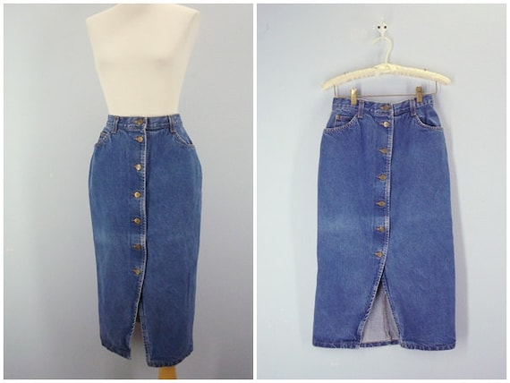 Pencil Skirt / 1980s Denim High Waist Skirt / Small