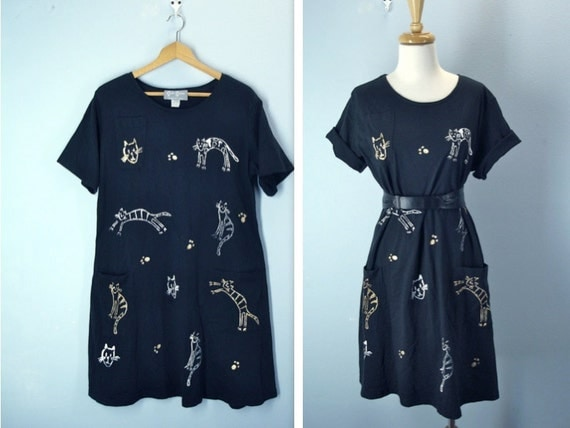 1980s Tshirt Dress / Vintage Cat Tee Dress / large