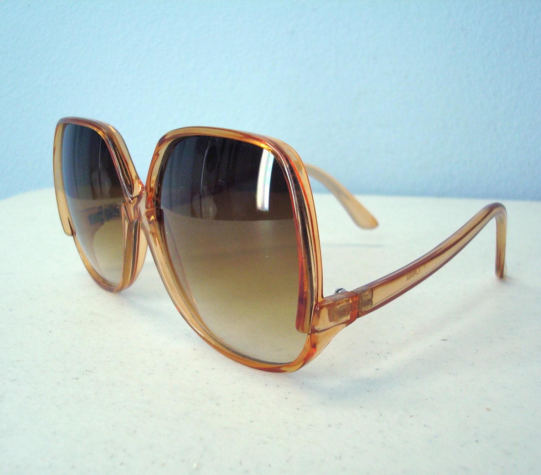 Vintage Large Frame Glasses : Vintage Sunglasses / 1980s Big Frame Tortoise Sun Glasses