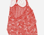 Cute Owl - 8 x 10 Risograph Print