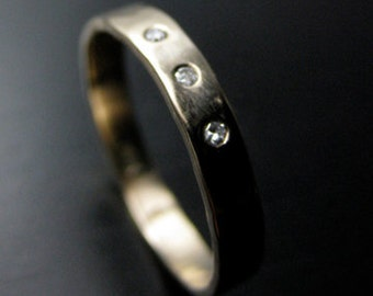 Hand Forged Recycled 14k Gold Conflict Free Diamonds