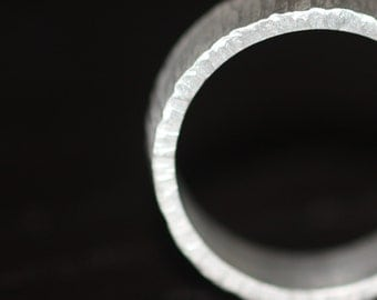 Palladium Sterling Band Hand Forged Ring