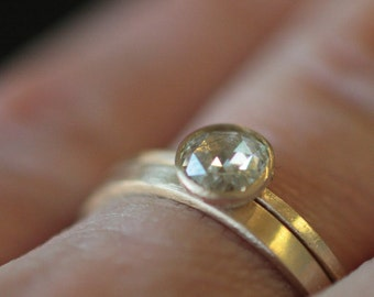 Engagement Ring Rose Cut 4mm Moissanite in Recycled 14k Yellow Gold Eco Friendly Metal