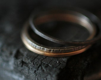 Stacking Set Hand Forged 14k Yellow Gold, Palladium and Silver all recycled