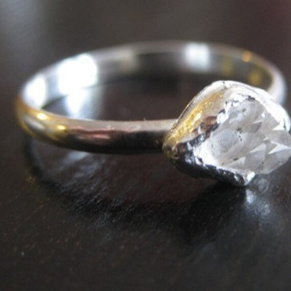 Stunning Clear Herkimer Diamond Ring Set in Fine Silver