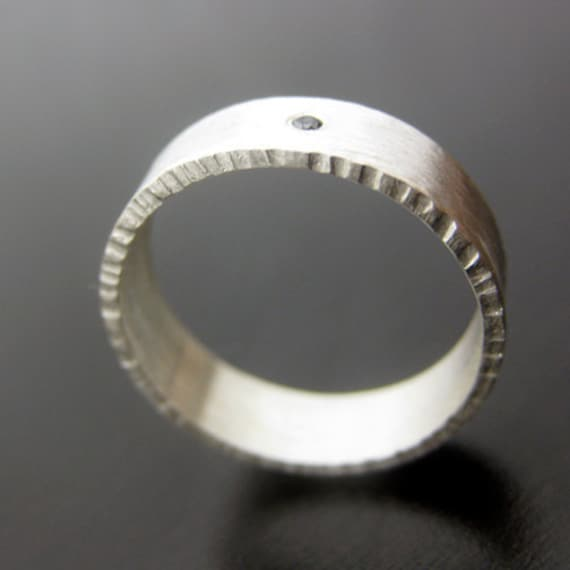 Ethical Black Diamond Textured Ring Hand Forged