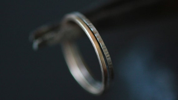 Hand Forged Band Hammered Recycled 14k White Gold