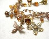 Honey bee bracelet golden rutilated quartz nougat brown freshwater pearls