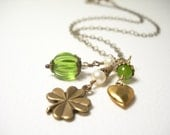 Lucky you necklace shamrock clover st patricks day fern green spring