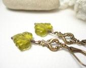 On Sale, Leaf glass earrings brass filigrees olive woodland